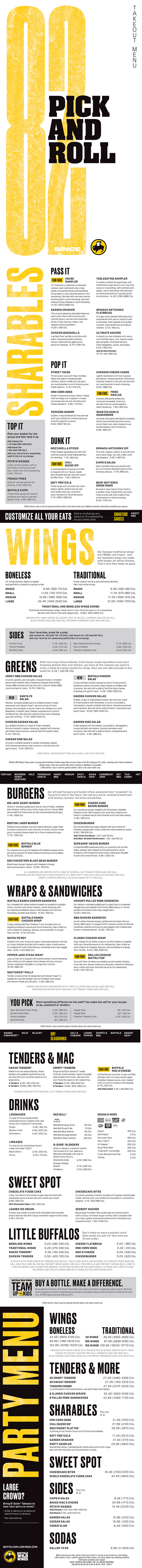 Buffalo Wild Wings | Menu | Southeast | Lincoln NE | Order Online ...
