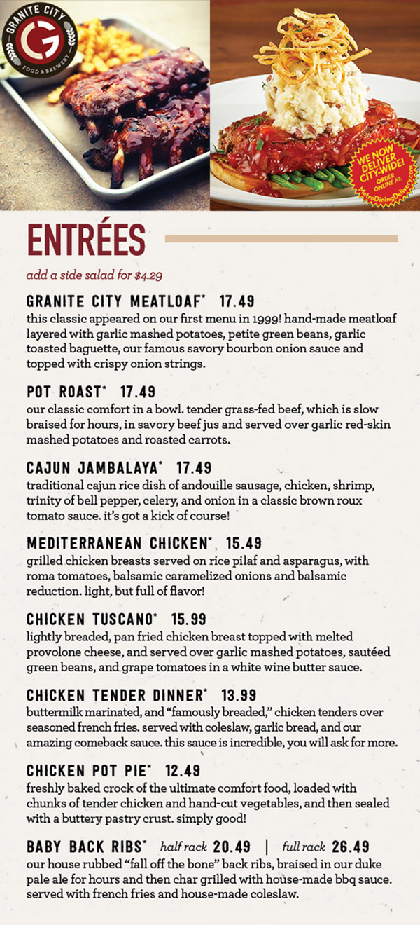 Granite City Food Amp Brewery Dinner Menu Lincoln Ne