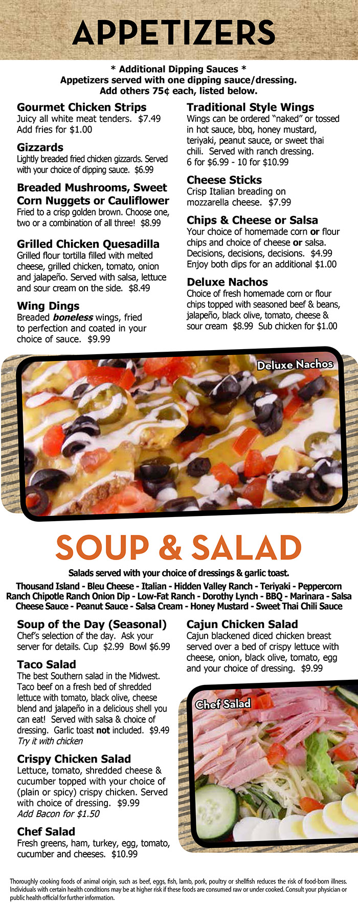 Heidelberg 39 s menu with prices lincoln ne order for Food bar consult