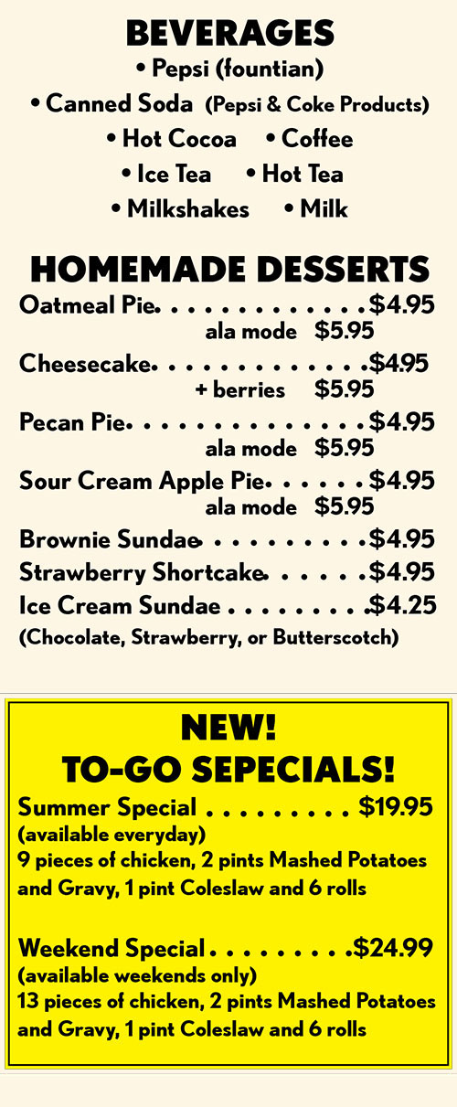 Lee S Chicken Restaurant Full Menu With Prices Lincoln
