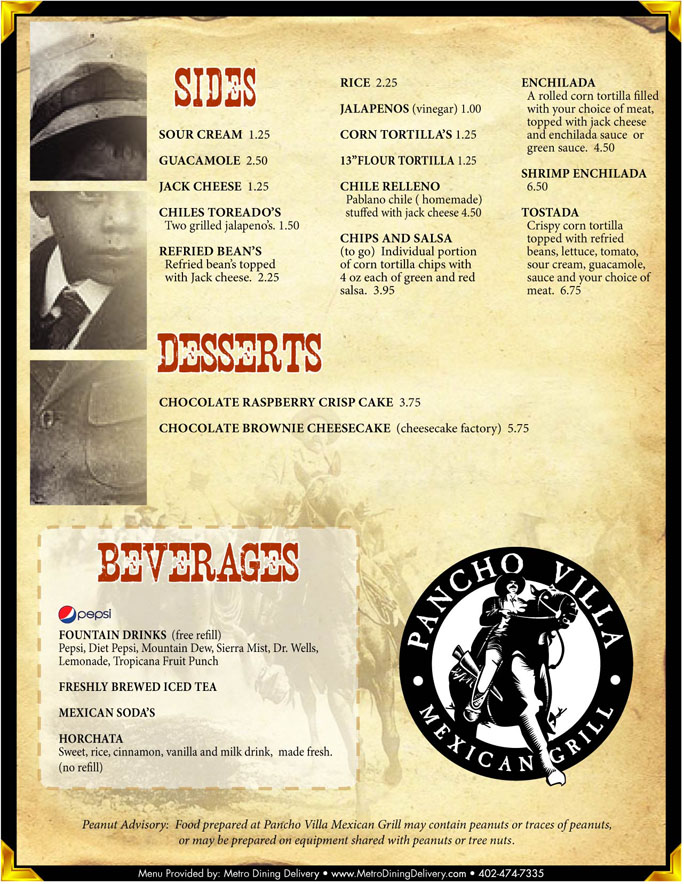 Pancho Villa Menu With Prices