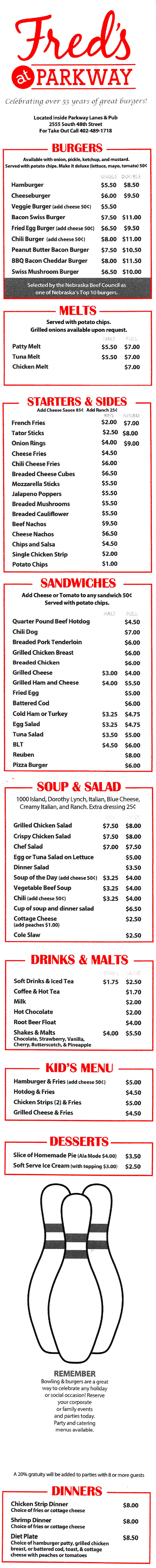 fred u0027s at parkway menu with prices 2555 s 48th st lincoln ne