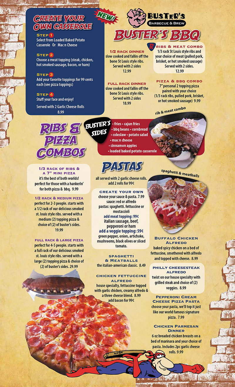 Buster S Bbq Amp Ramos Pizza Menu 2435 S 48th St Lincoln