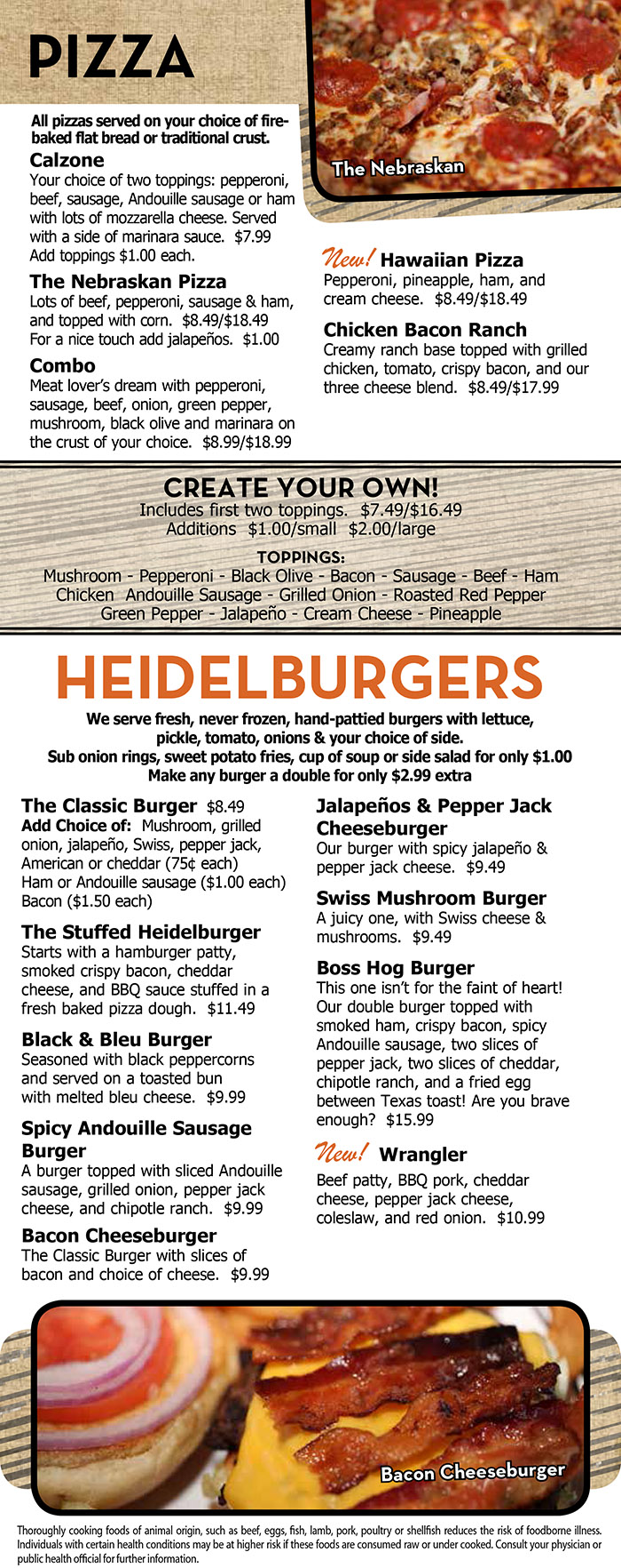 Heidelberg S Menu With Prices Lincoln Ne Order