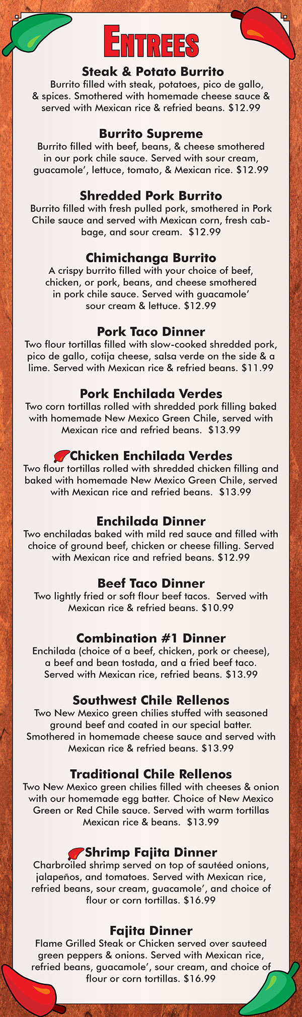 La Paloma Mexican Restaurant Menu With Prices Lincoln