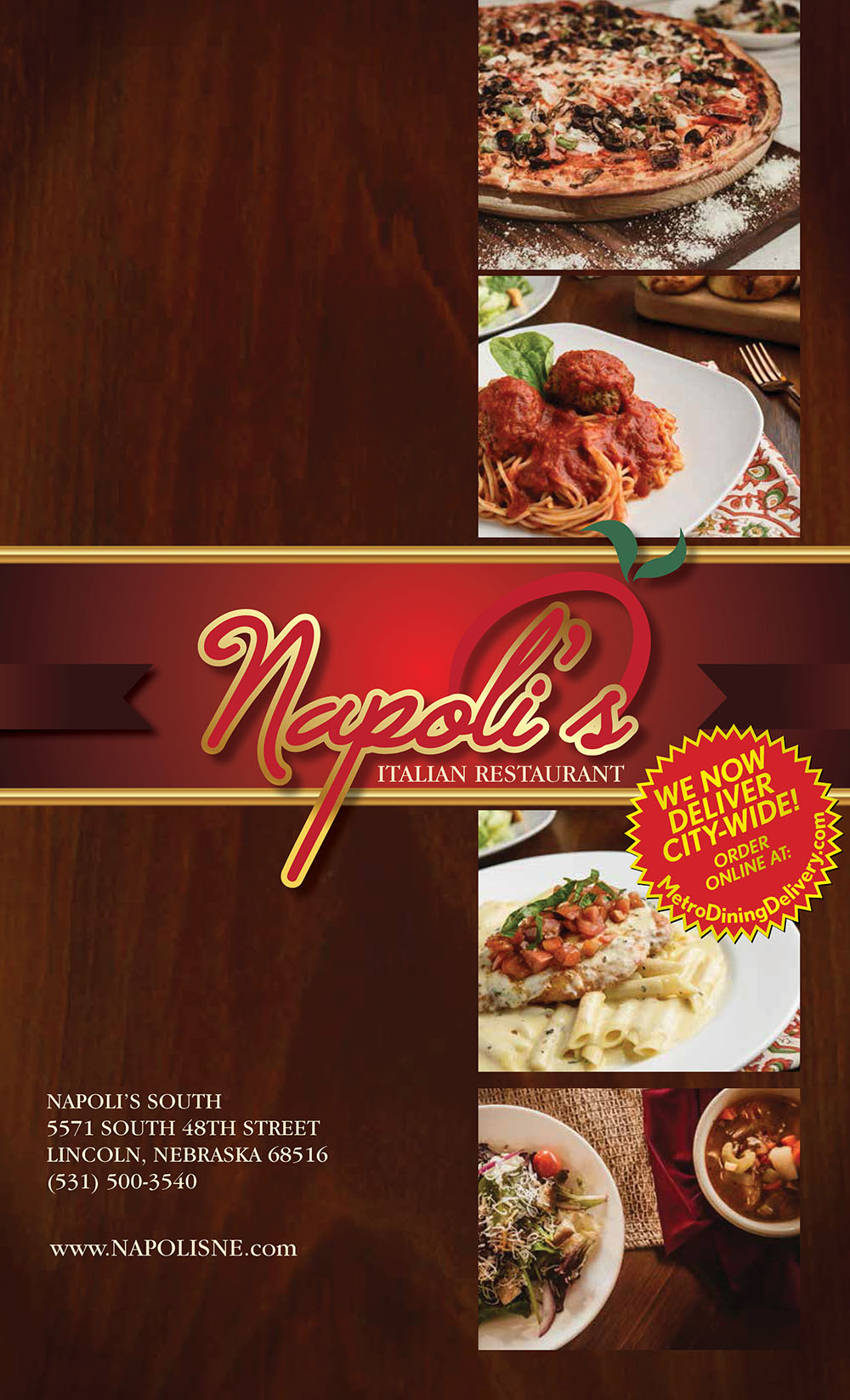 Napoli's Italian Restaurant | Dinner Menu | Delivery | Order Online |  City-Wide Delivery